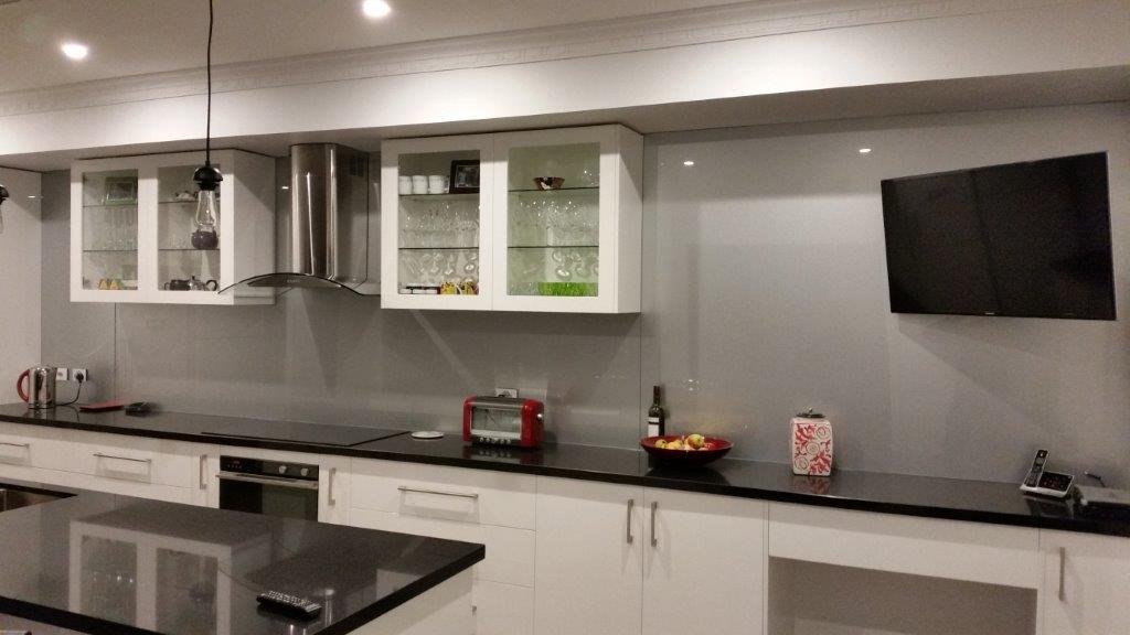 Matt Grey Kitchen Glass Splashback